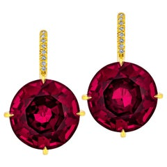 Rhodolite Garnet Diamond Gold Drop Earrings