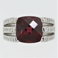 Rhodolite Garnet Diamond Gold Ring