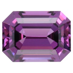 Rhodolite Garnet Ring Gem 4.87 Carat Emerald Cut