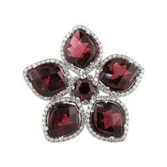 Rhodolite Garnet Flower Petal Ring Adorned with Brilliant Diamonds Set in 18KW