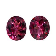 Rhodolite Garnet Gemstone Pair of 10.39 Carat Unset Oval Loose Gemstones