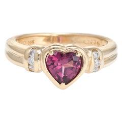 Rhodolite Garnet Heart Ring Diamond Estate 14 Karat Yellow Gold Fine Jewelry
