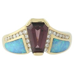 Rhodolite Garnet, Opal, and Diamond Kabana Ring 14k Gold Round Brilliant.18ctw