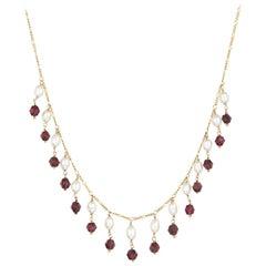 Rhodolite Garnet Pearl Necklace Choker Fringe Vintage 14 Karat Gold Jewelry