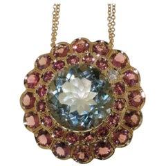Rhodolite Garnet Prasiolite Green Quartz Diamond 18 Karat Rose Gold Necklace