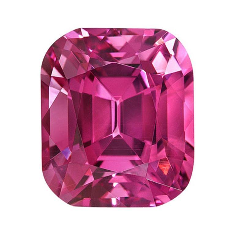 Rhodolite Garnet Ring Gem 6.29 Carat Unset Cushion Loose Gemstone