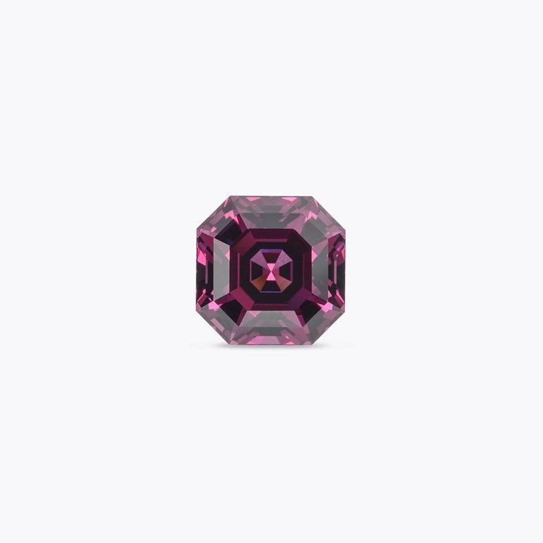 Art Deco Rhodolite Garnet Ring Gem 7.14 Carat Unset Square Octagon Loose Gemstone For Sale