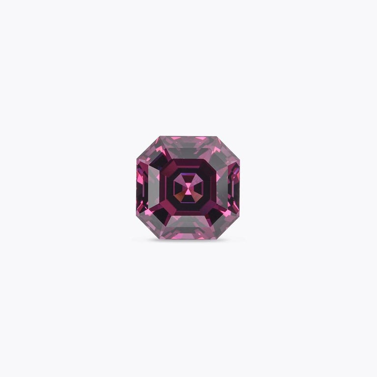 Asscher Cut Rhodolite Garnet Ring Gem 7.14 Carat Unset Square Octagon Loose Gemstone For Sale