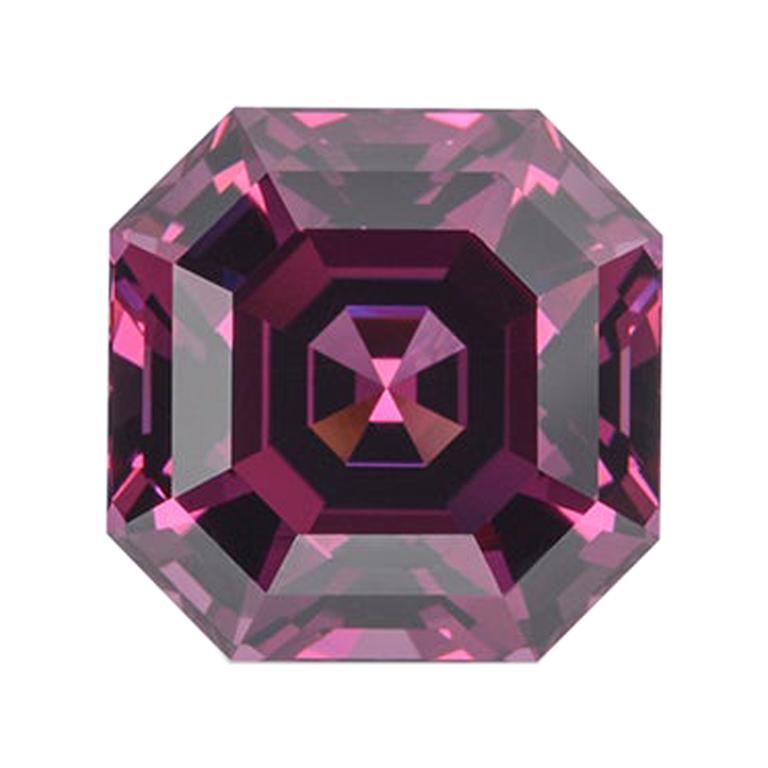Rhodolite Garnet Ring Gem 7.14 Carat Unset Square Octagon Loose Gemstone For Sale