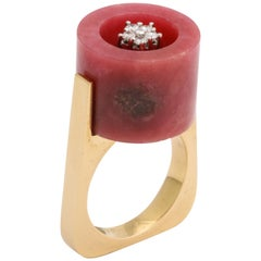 Rhodonite and Diamond 18 Karat Gold Postmodern Ring, circa 1970