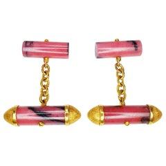Rhodonite Cufflinks in 18 Karat Yellow Gold