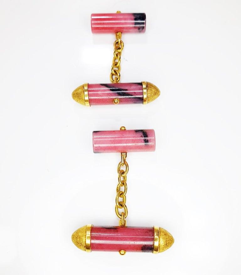 Artisan Rhodonite Cufflinks in 18 Karat Yellow Gold For Sale