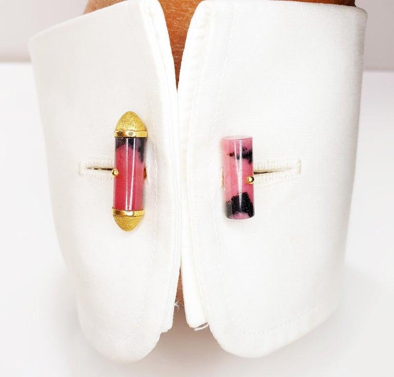 Bullet Cut Rhodonite Cufflinks in 18 Karat Yellow Gold For Sale