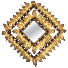 Rhombus Sunburst Mirror, Gilt Iron, Gold Leaf