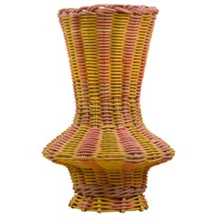Rhombus Vase Woven in Lemon and Salmon by Studio Herron