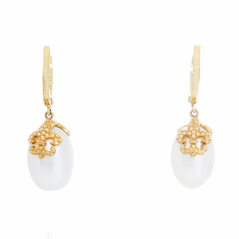 Women's Rhonda Faber Green Baroque Freshwater Cultured Pearl and Diamond Earrings For Sale