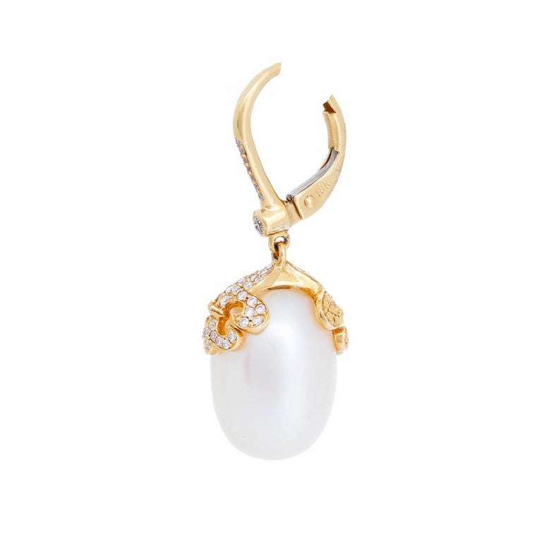 Rhonda Faber Green Baroque Freshwater Cultured Pearl and Diamond Earrings For Sale 1