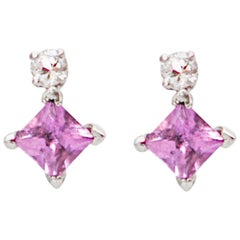 Rhumbus 1 Carat Pink Sapphires Diamonds 18 Karat White Gold Earrings