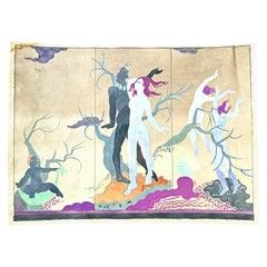 """Rhythm,"" Design for Art Deco Folding Screen w/ Nudes, Gold, Magenta & Charcoal"
