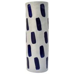Rhythm Vase #1 by Isabel Halley, in Pale Grey Porcelain with Cobalt Glaze