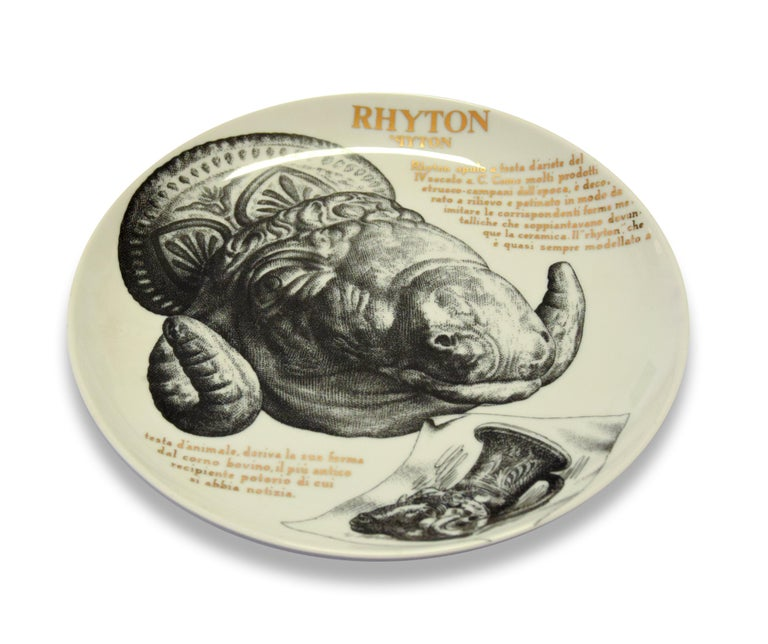 Italian Rhyton Plate for Martini & Rossi, by P. Fornasetti, 1960s For Sale
