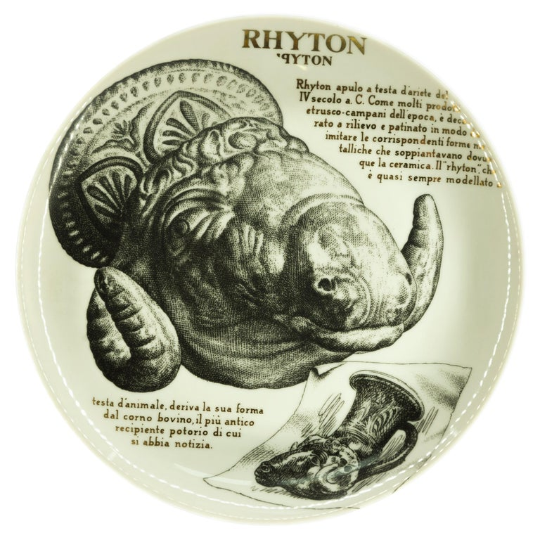 Rhyton Plate for Martini & Rossi, by P. Fornasetti, 1960s For Sale