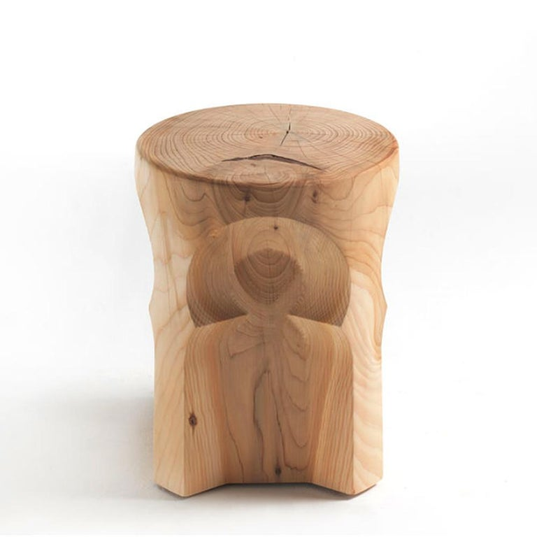 Carved Riad Cedar Stool in Solid Natural Cedar Wood For Sale