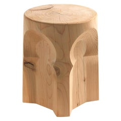 Riad Cedar Stool in Solid Natural Cedar Wood