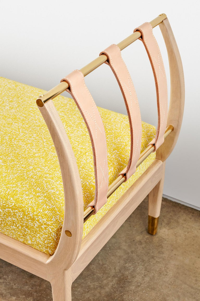 Rib Bench with Wood, Leather, Polished Brass and COM For Sale 3