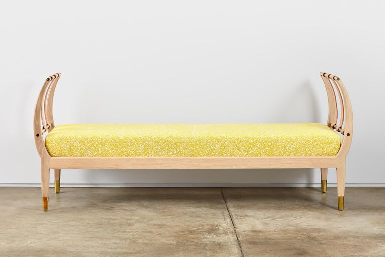 Rib Bench with Wood, Leather, Polished Brass and COM For Sale 2