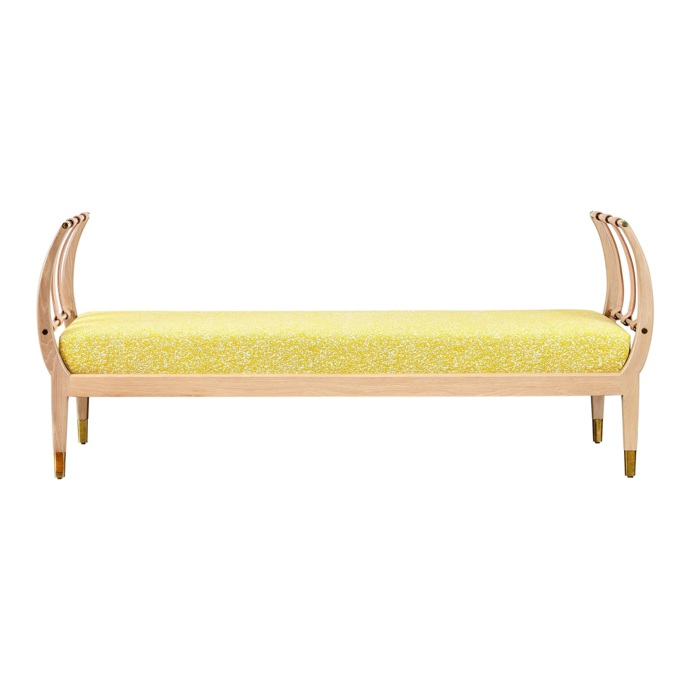 Rib Bench with Wood, Leather, Polished Brass and COM