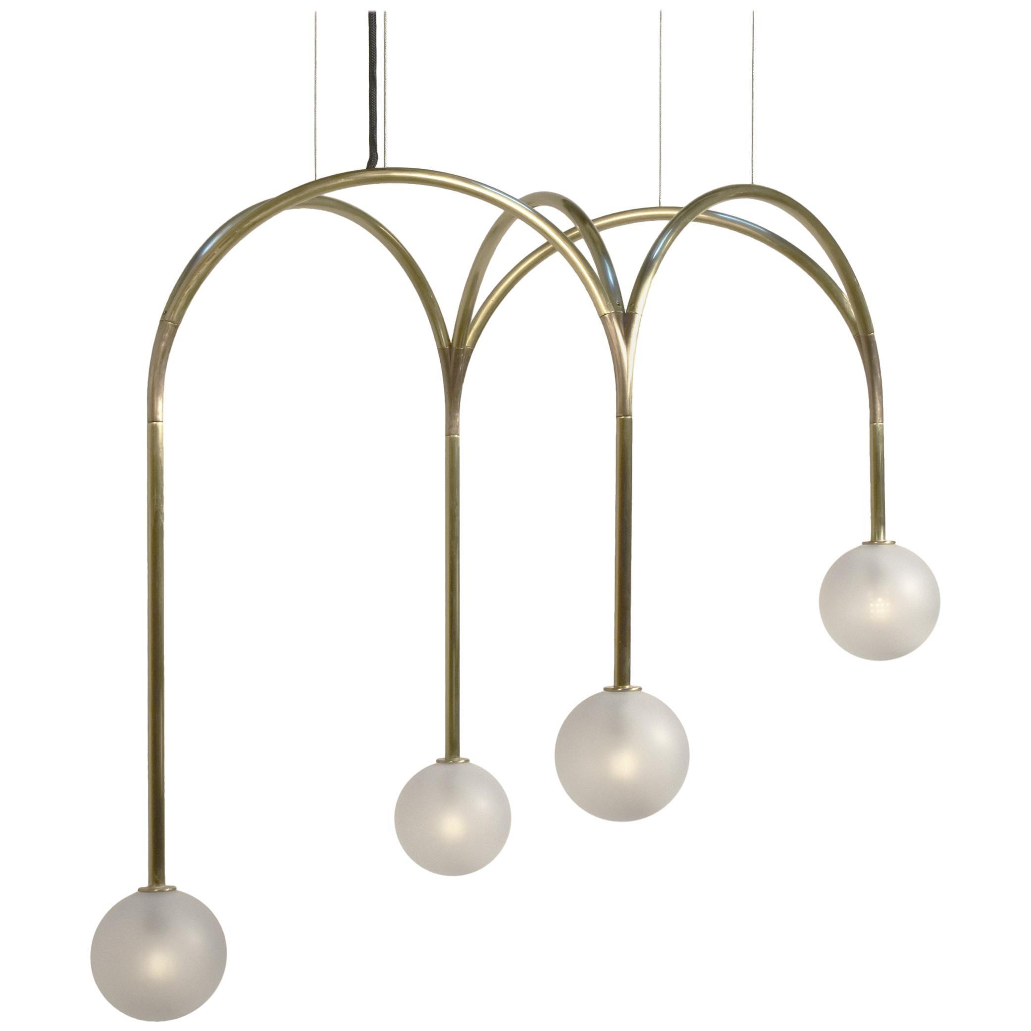 Rib Vault Light, Brass Chandelier in Diamond and Customizable Configurations