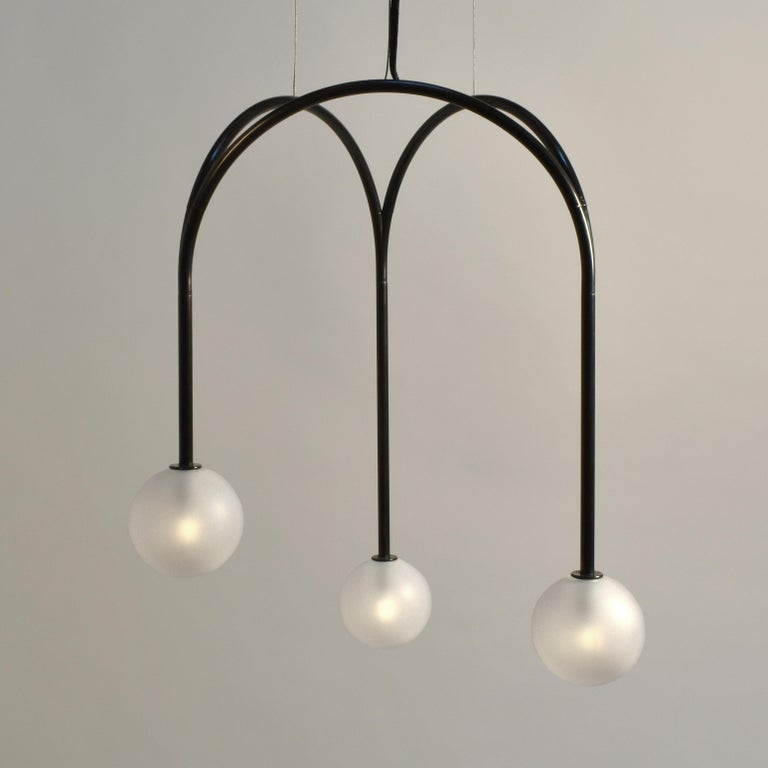 Modern Rib Vault Light, Brass Chandelier in Triangular and Customizable Configurations For Sale