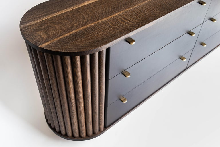 Contemporary Ribbed Credenza in Solid Hardwood, Leather Veneer and Original Brass Pulls For Sale