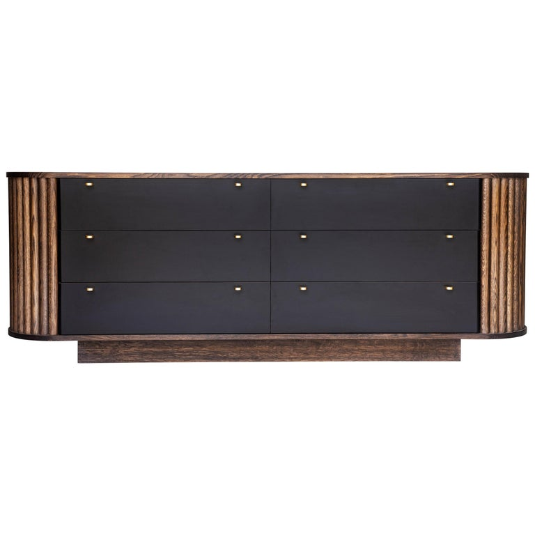 Ribbed Credenza in Solid Hardwood, Leather Veneer and Original Brass Pulls For Sale