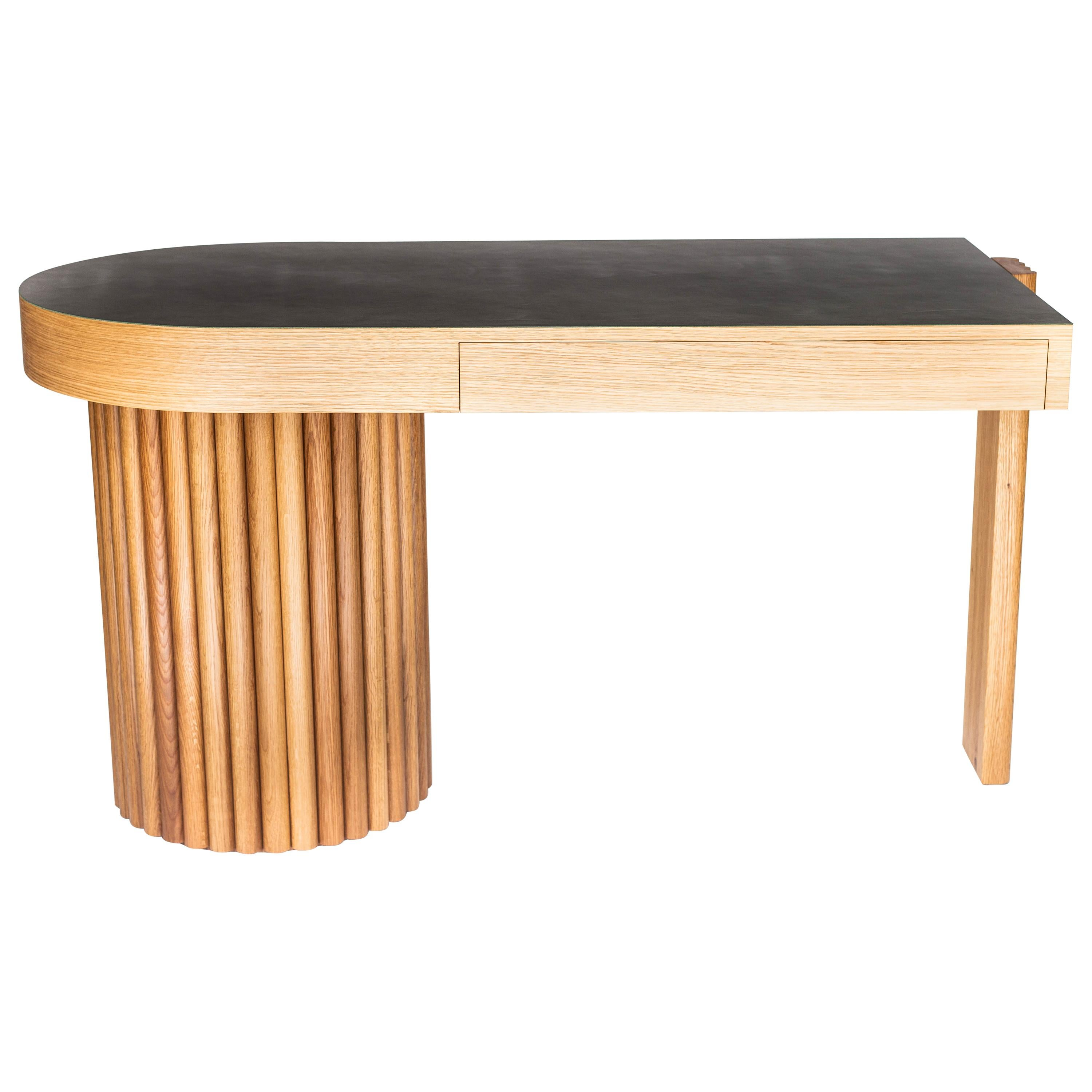 Asymmetrical Brutalist Inspired Writing Desk with Leather Top by Kate Duncan