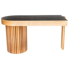 Ribbed Desk in Solid North American Hardwood and Leather Veneer