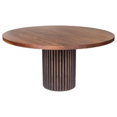 Solid Black Walnut Dining with Signature Kate Duncan Ribbed Base