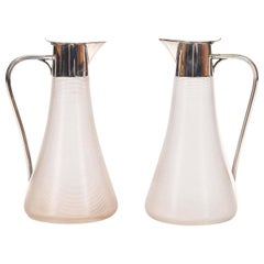Ribbed Glass and Silver Plated Claret Jugs by WMF