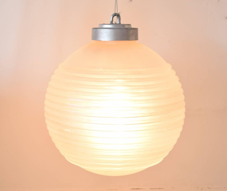 Art Deco Ribbed Glass Pendant Light Fitting, English, circa 1940 For Sale