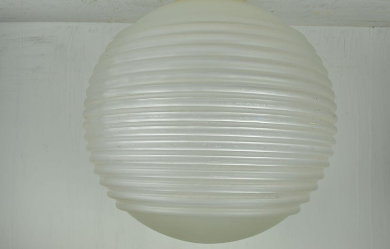 Cast Ribbed Glass Pendant Light Fitting, English, circa 1940 For Sale