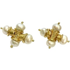 18 Carat Yellow Gold Ribbed Gold and Freshwater Pearl Cross Earrings