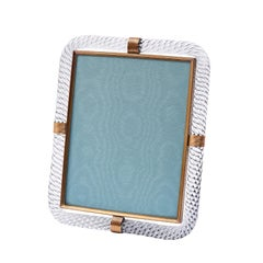 Ribbed Murano Glass Frame with Brass Mounts, Italy Mid-20th Century