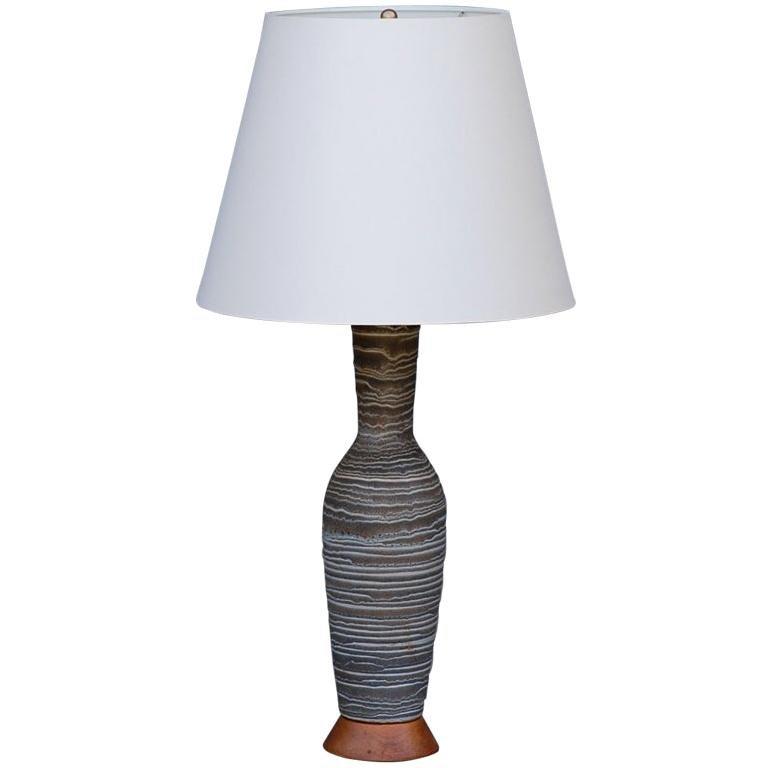 Ribbed Salt Glaze Ceramic Lamp by Lee Rosen for Design Technics