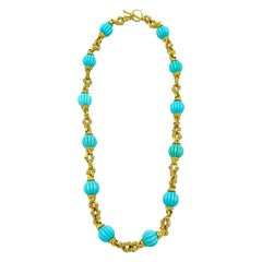 Ribbed Turquoise and 18 Karat Yellow Matte Gold Necklace