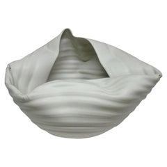 NEW - Ribbed White Open Form, Vase, Interior Sculpture or Vessel, Objet D'Art