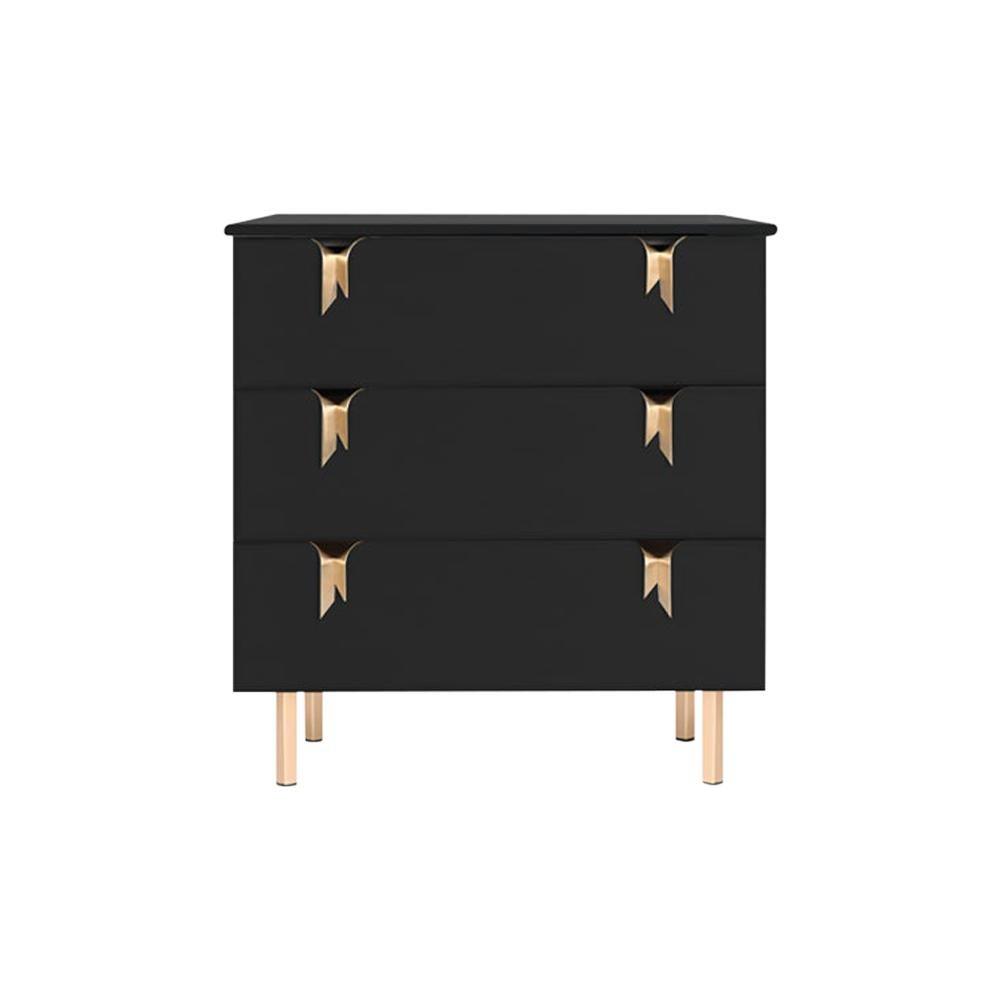 Ribbon 3-Drawer Dresser/Bedside, Black Ashwood, Bronze Hardware by Debra Folz