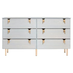 Ribbon 6 Drawer Dresser - Gray Ash Wood - Bronze Hardware by Debra Folz