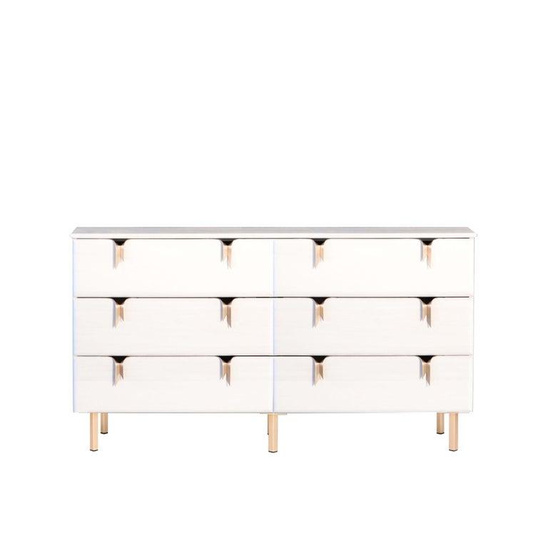 Ribbon 6 Drawer Dresser - Ivory Ash Wood - Bronze Hardware by Debra Folz For Sale
