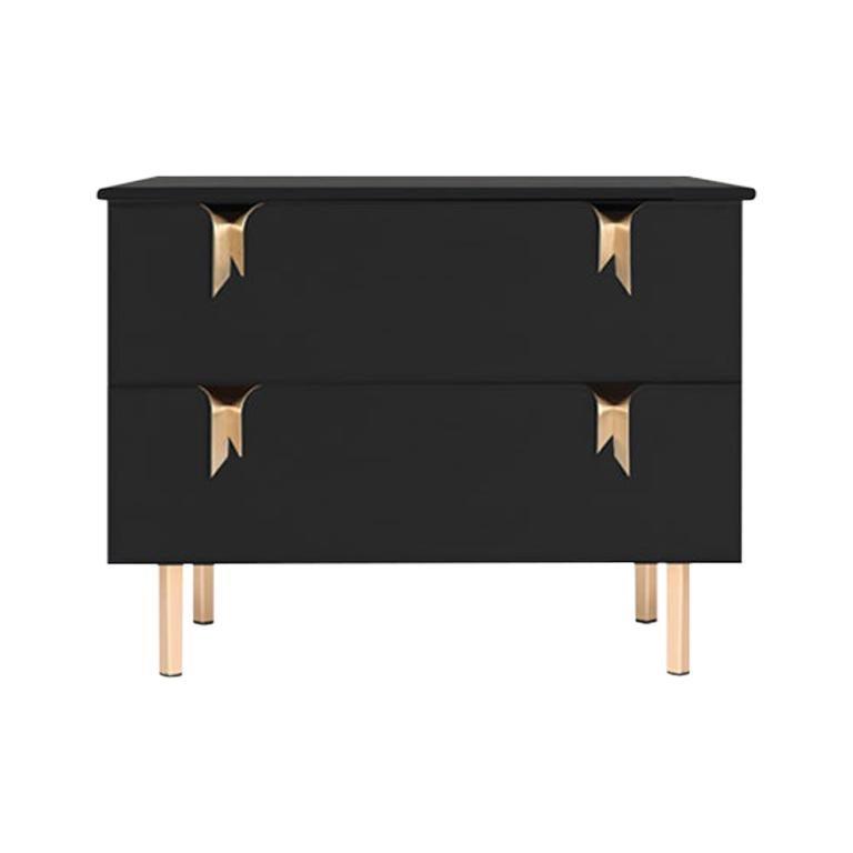 Ribbon Bedside / Side Table, Black Ashwood, Bronze Hardware by Debra Folz